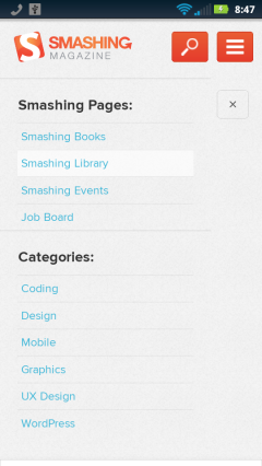 Smashing Magazine Menu