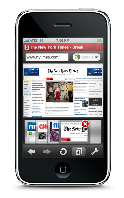 Opera Mini for iPhone - Tabs NYT