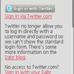 Dabr Login Screen