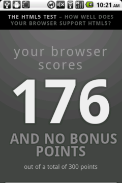 HTML5test.com - Android 2.2 Browser
