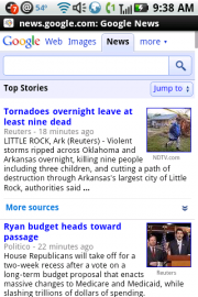 Google News Touch - Android Browser