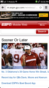 Nokia N9 Browser - ESPN Mobile