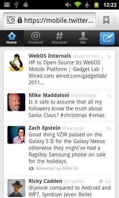 New Twitter Mobile Webapp - Home Tab