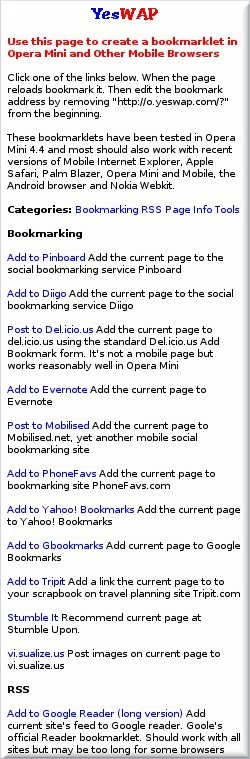 Mobile Bookmarkets Page at o.yeswap.com