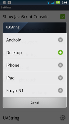 Android Browser Hidden UAString Menu