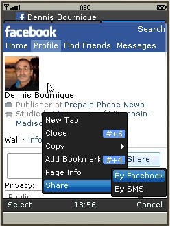 UC Browser 8.2 - Facebook Mobile with context menu share options