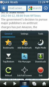 UC Browser 8.2 N8 Symbian Touch Menu