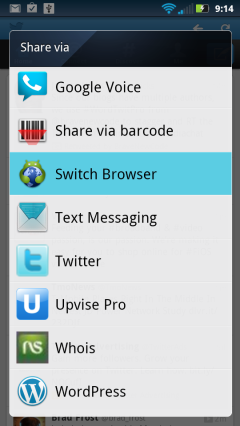 Switch Browser Option in Android Share Menu