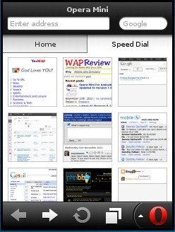 Opera Mini 7.1 Speed Dial Screen
