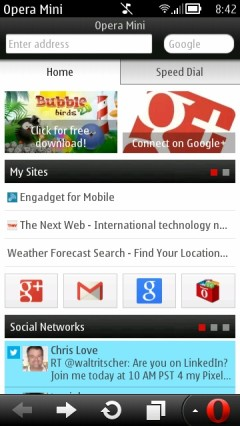 "Opera Mini 7.0.3 Symbian - ""Smart Page"" Homescreen"