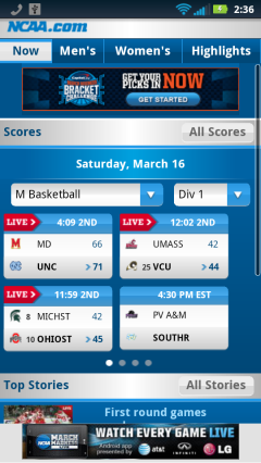 NCAA March Madness Homepage