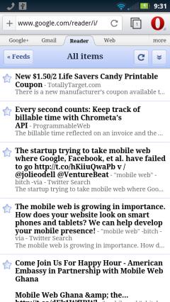 Opera Webkit Beta NY Google Reader