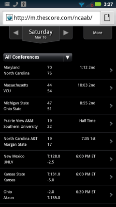 The Score NCAA Basketball Page