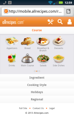 AllRecipes Browse For Recipe
