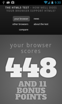 Opera Mobile 14 - Html5Test.com in full screen mode
