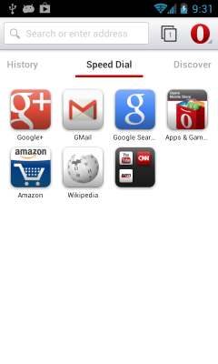 Opera Mobile 14 - Speed Dial page with top navigation bar