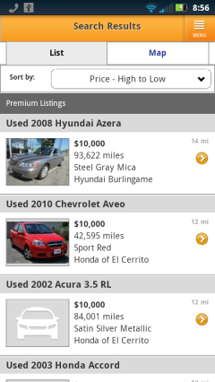 AutoTrader Search Results