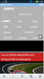 UC Browser Mini 8.6 - ESPN