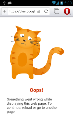 Opera Browser 16 Beta - Sad Cat Error Page