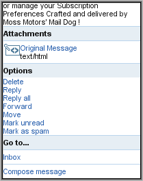 Y!Mail Beta - Message Menu