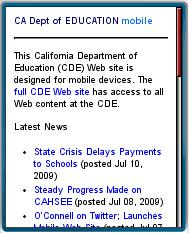 Califorian Department of Education Mobile