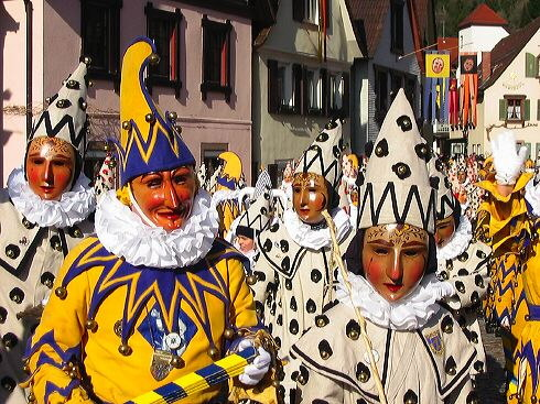 Carnival clowns in Wolfach, Germany from German Wikipedia, by Eribula