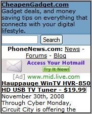 Cheapen Gadget Mobile Homepage
