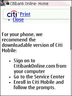 Citibank Mobile Eroor on N95