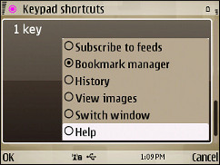 Symbian V7.2 Browser - Edit Shortcuts
