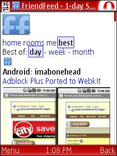 FriendFeed iPhone Web App in Opera Mini