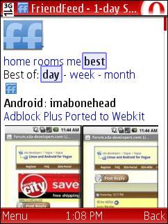 FriendFeed iPhone Web App in Opera Mini