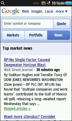 Wap Review » Blog Archive » Google Finance Mobile Web Update