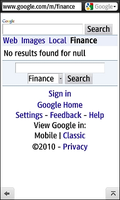 Google Finance - Broken in Opera Mini 