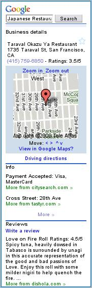 Google Local Mobile Detail Listing
