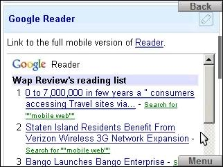 Google Reader in iGoogle on Skyfire