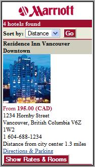Marriott Hotel Listing