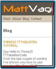 MattVague.com Mobile View