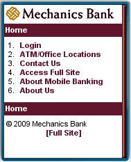 Mechanics Bank Moobile Site