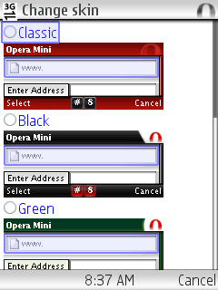 Opera Mini 4.2 Skin Selector