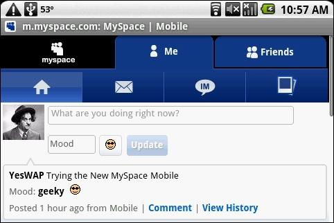 MySpace Mobile on Android