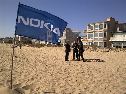 Flying the Nokia Flag On Sunset Beach