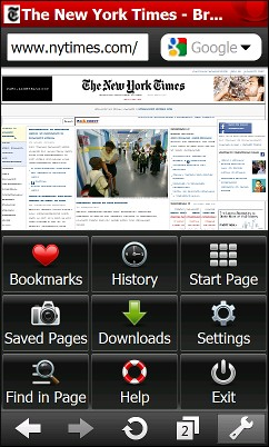 Opera Mini 5.1 For Windows Mobile - Main Menu