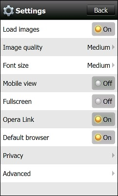Opera Mini 5.1 For Windows Mobile - Settings Menu