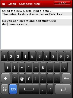 Opera Mini 5 Beta 2 - Enter Key