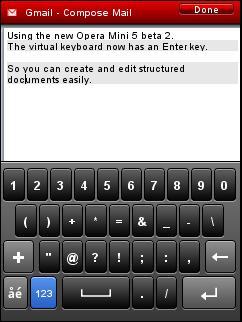 Opera Mini 5 Beta 2 - Enter Key