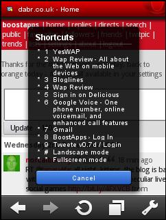 Opera Mini 5 Beta 2 - Shortcuts