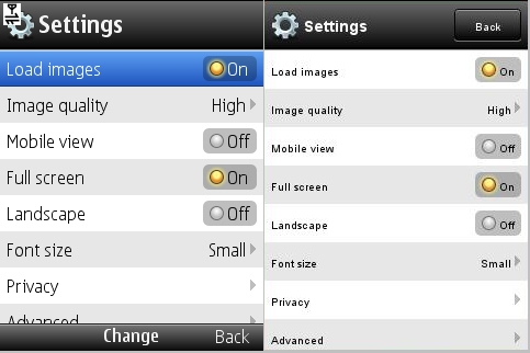 Opera Mini 5 Settings Screen