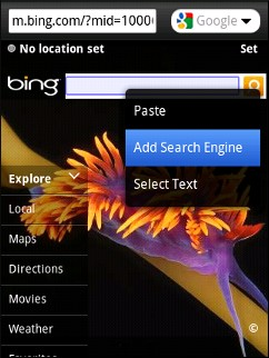 set bing search engine