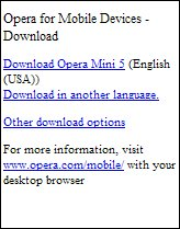 Opera Mini Unknown Device