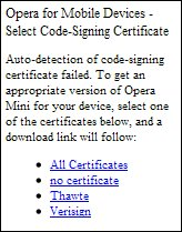 OPera Mini Certificate selection screen